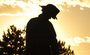 Silhouette of fire-fighter at dusk