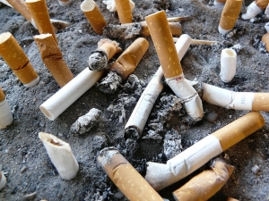 cigarette butts in sand