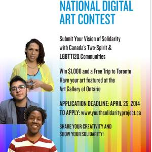 Poster for national digital art content - 3 young people and brief instructions