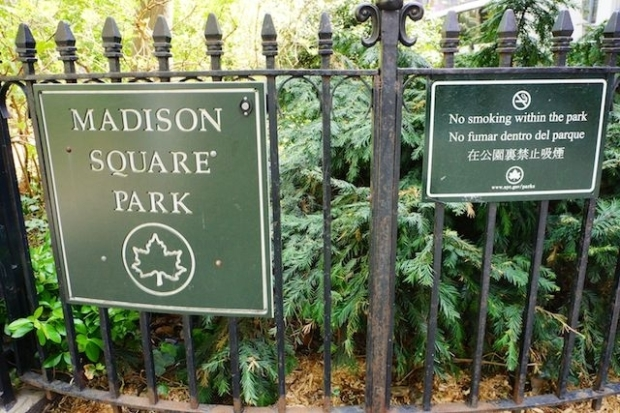 Sign for Madison Square Park next to a No Smoking in the Park sign