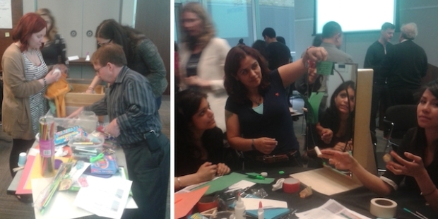 two photos side by side - people digging into craft materials to build their artifacts