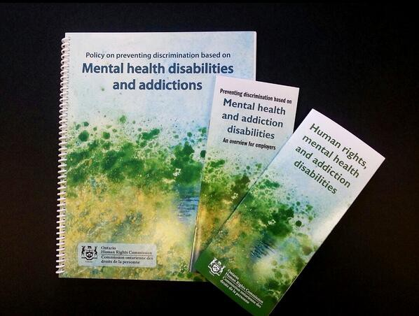 poster and brochures for the OHCR policy on mental health disabilities and addictions