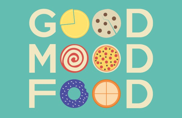 Graphic using the words Good Mood Food